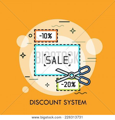 Paper Coupons With Cutting Line And Scissors. Concept Of Shopping Discount System, Sale Promotion, S
