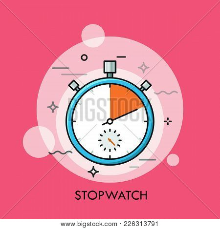 Mechanical Analog Manual Stopwatch Or Timer. Concept Of Time Tracking And Measuring, Countdown, Accu