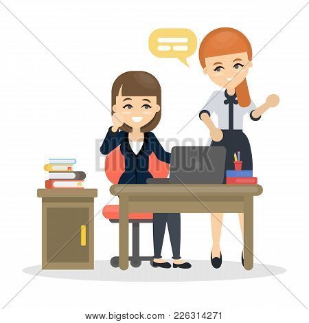 Women At Office Talking And Working Together.