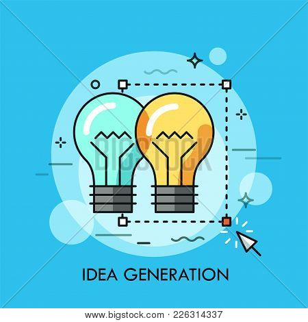 Two Light Bulbs Selected With Rectangular Selection Tool And Cursor. Concept Of Original Idea Genera