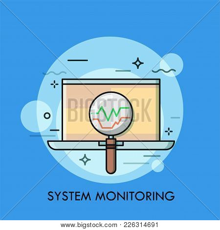 Laptop And Magnifying Glass. Concept Of Operating System Monitoring, Computer Data Check, Search For