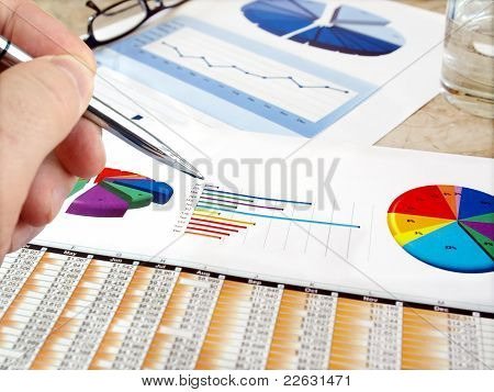 Analyzing investment charts.