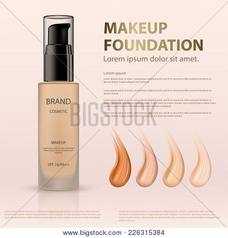 Template, Preparation Advertising Cosmetic Foundation Cream On Beige Background. Glass Matte Bottle