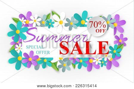 Design Of The Summer Banner With Bright Flowers Frame. Summer Flowers With White Frame Template For