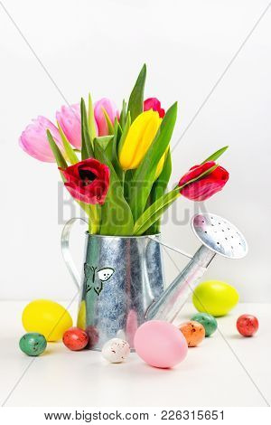 Bunch Of Spring Bright Tulips In Galvanized Watering Pot And Easter Eggs Over White Background. Copy