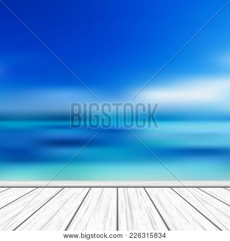Tropical Vector Background With Blurry Turquoise Sea Background And Blue Sky For Premium Product Adv