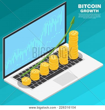 Bitcoin Growth Concept. Stack Of Golden Bitcoin To Open The Laptop With Growth Graph. The Concept Of