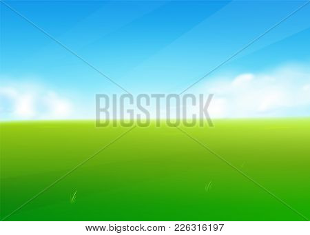 Spring Field Nature Background With Green Grass Landscape, Clouds, Sky. Farmland Scene. Vector Illus