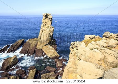Called Carrack Of Crows, Nau Dos Corvos, Is A Limestone Stack, Off Cape Carvoeiro, Formed By The Ero