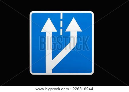 'beginning Of Additional Lane' Square Blue Road Sign Isolated On Black