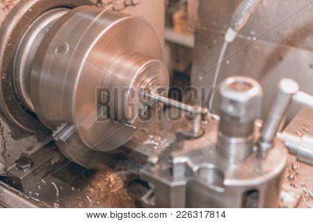 Motion Blur Metal Lathe, Lathe Machine Metalworking In Workshop