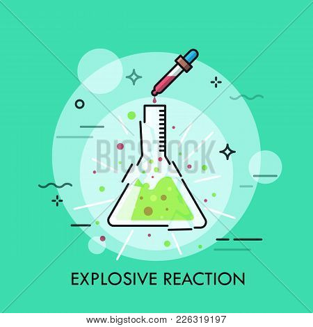 Broken Glass Flask With Green Liquid Inside And Pipette Dripping Red Fluid. Concept Of Explosive Che