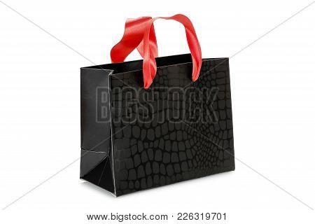 Luxurious Black Shopping Bag Isolated On White