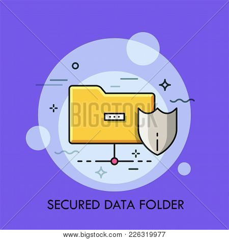 Yellow Folder And Protective Shield Symbols. Concept Of Secured Digital Data Storage, Safety And Pro