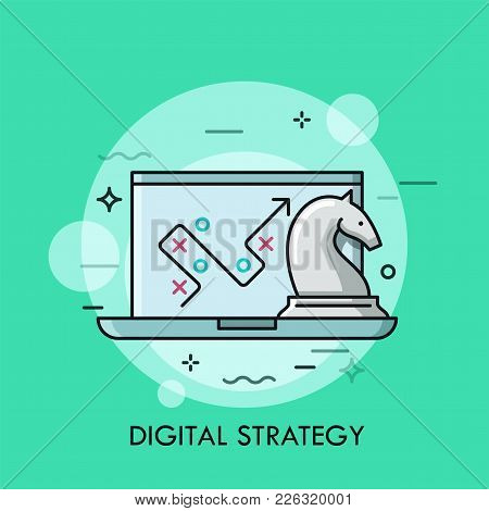 Laptop With Map, Path Or Route On Screen And Knight Chess Piece. Concept Of Digital Strategy And Mod