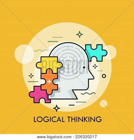 Human Head With Maze Inside And Colorful Jigsaw Puzzle Pieces. Concept Of Logical Thinking, Intellig