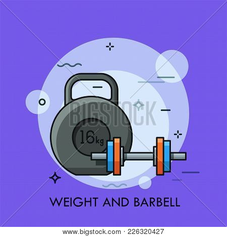 Kettlebell And Dumbbell. Concept Of Sports Equipment For Weight Lifting, Power Or Strength Training,