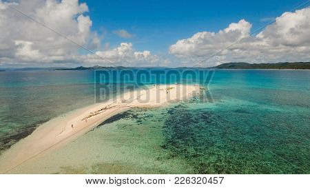 Aerial View Of Beautiful Sand Tropical Island With White Sand Beach And Tourists. White Sand Island.