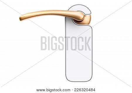 Door Handle With Blank Sign, 3d Rendering