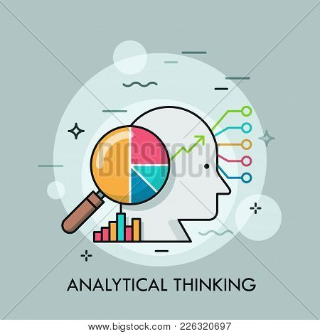 Human Head, Magnifying Glass With Pie Chart Inside, Diagrams And Graphs. Concept Of Analytical Think