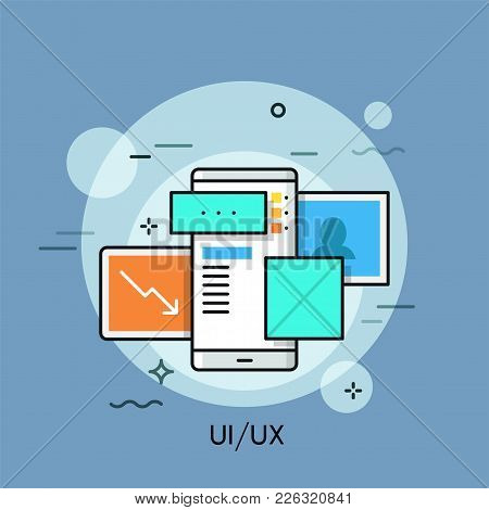 Smartphone And Visual Elements, Pictures And Windows On Screen. Concept Of User Interface Or Experie