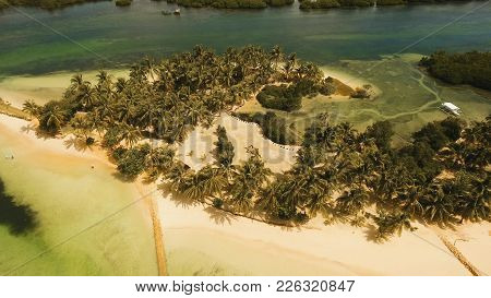 Aerial View Of Tropical Beach On The Island Siargao, Philippines. Beautiful Tropical Island With San