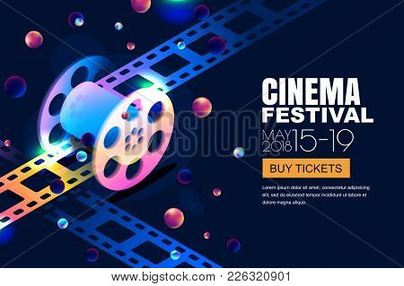 Vector Glowing Neon Cinema Festival Banner. Film Reel In 3D Isometric Style On Abstract Night Cosmic