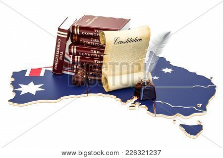 Constitution Of Australia Concept, 3d Rendering Isolated On White Background