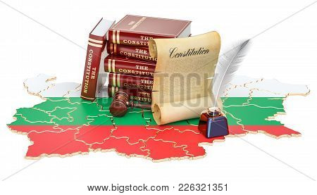 Constitution Of Bulgaria Concept, 3d Rendering Isolated On White Background