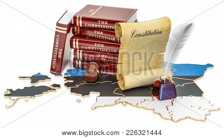 Constitution Of Estonia Concept, 3d Rendering Isolated On White Background