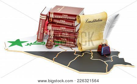 Constitution Of Iraq Concept, 3d Rendering Isolated On White Background
