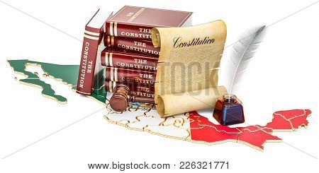 Constitution Of Mexico Concept, 3d Rendering Isolated On White Background