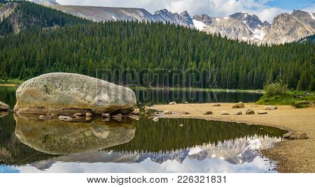 Brainard Lake Reflection At State Park In Ward Colorado
