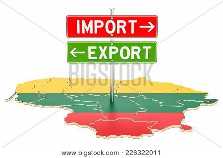 Import And Export In Lithuanian Concept, 3d Rendering Isolated On White Background