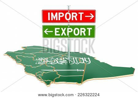 Import And Export In Saudi Arabia Concept, 3d Rendering Isolated On White Background