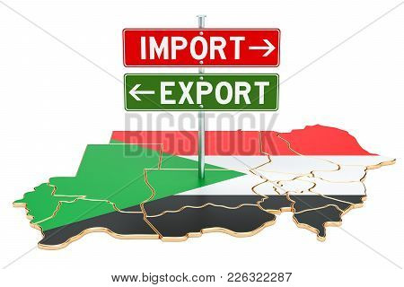 Import And Export In Sudan Concept, 3d Rendering Isolated On White Background