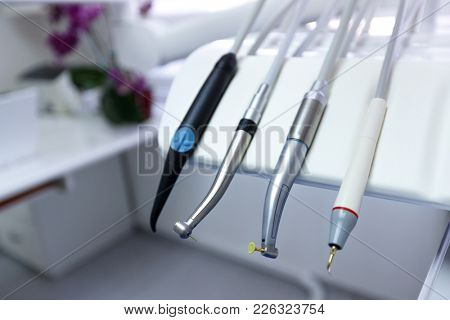 Close up of Instrument for drilling teeth in dental ordination