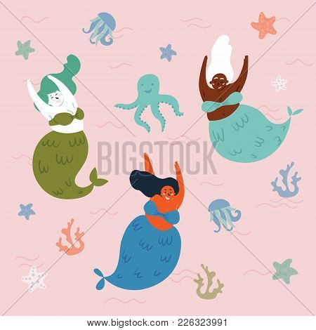 Three Mythical Creatures Under The Sea Are Having Fun. Mermaids And Octopus In The Water. Sea Or Oce