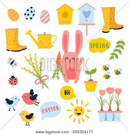 Vector Easter And Spring Set With Cute Bunnie With Carrot, Birds, Chicken, Eggs, Flowers, Birdhouses
