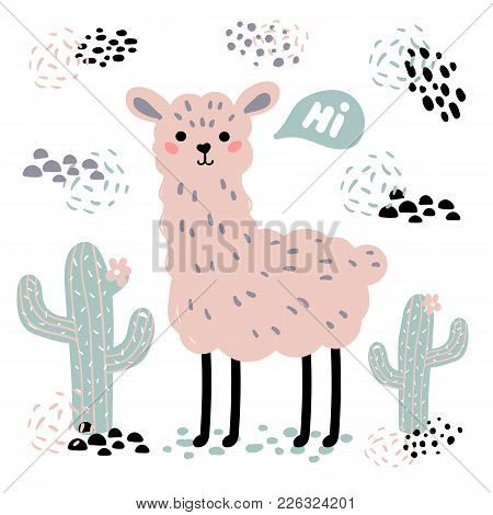 Pink Lama Alpaca With Hi Text, Surrounded By Desert Cactuses On White Background. Wild Or Zoo Cute C