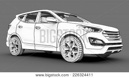 Compact City Crossover White Color On A Gray Background. Monochrome Schematic Image With Shadows On