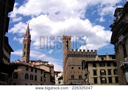 Houses And Towers In The Old Town Of Florence, Italy