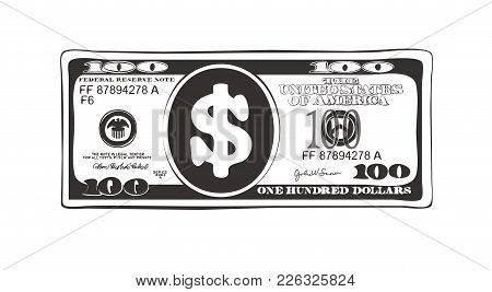 100 Dollars In Flat Cartoon Style. Vector Design Of Bill One Hundred Dollars. Suitable For Discount