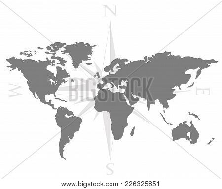 Vector Illustration Of World Map With Wind Rose, Navigation Compass. Symbols Of Global Technology, I