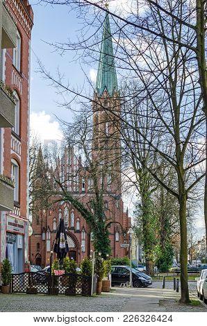 Berlin, Germany - 1 Februar, 2018: Masonry Parish Church Of The Sacred Heart In Tegel - A Locality I