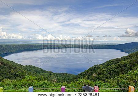 Volcanic Lake Laguna De Apoyo In The Apoyo Lagoon Natural Reserve - An Endorheic Lake Occupying The
