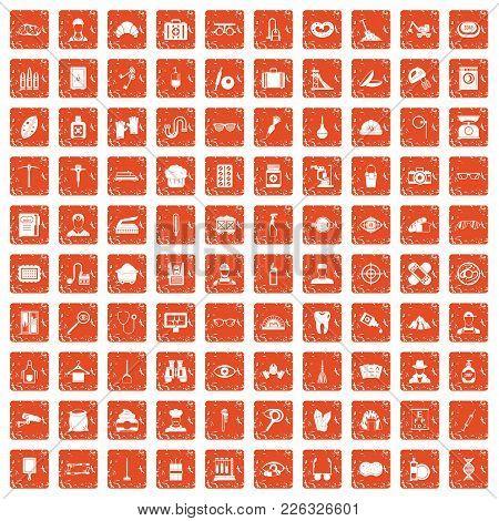 100 Profession Icons Set In Grunge Style Orange Color Isolated On White Background Vector Illustrati