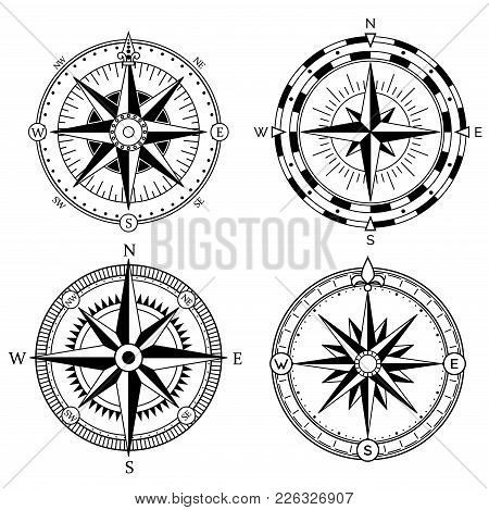 Wind Rose Retro Design Vector Collection. Vintage Nautical Or Marine Wind Rose And Compass Icons Set