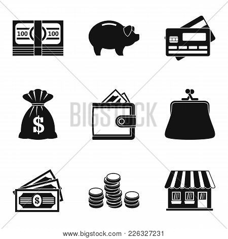 Hard Cash Icons Set. Simple Set Of 9 Hard Cash Vector Icons For Web Isolated On White Background