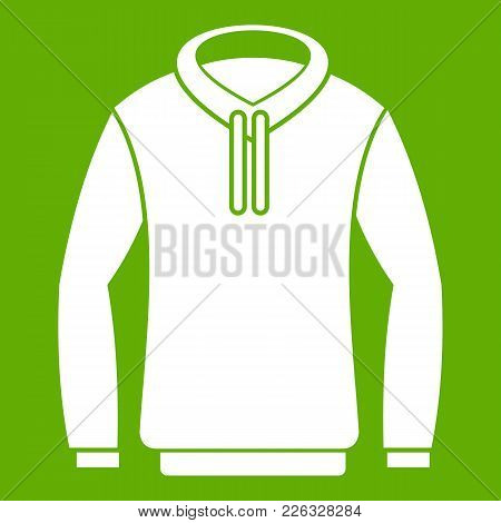 Hoody Icon White Isolated On Green Background. Vector Illustration